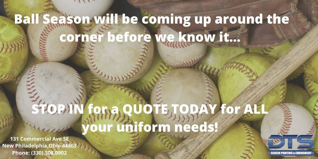 Ball Season will be coming up around the corner before we know it...STOP IN for a QUOTE TODAY for ALL your uniform needs! #BallSeason #BaseballSeason #SoftballSeason  * * Connect With Us! info@dennisontshirt.com  (330).308.0902 http://www.dennisontshirt.com pic.twitter.com/pg2VFBIHzA