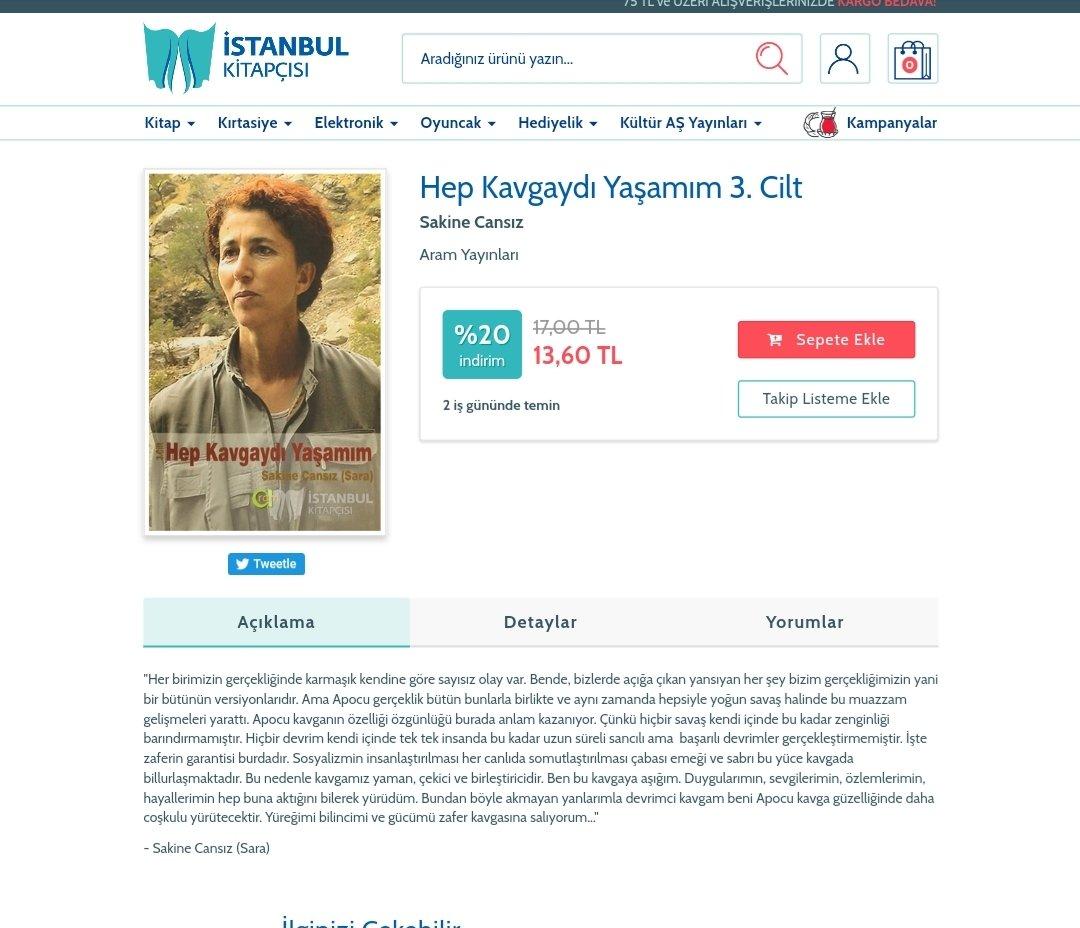 İBBye ait olan İstanbul Kitapçısı, PKKnın kurucu üyesi olan terörist Sakine Cansızın kitabını da satıyor. HAİNSİNİZ!