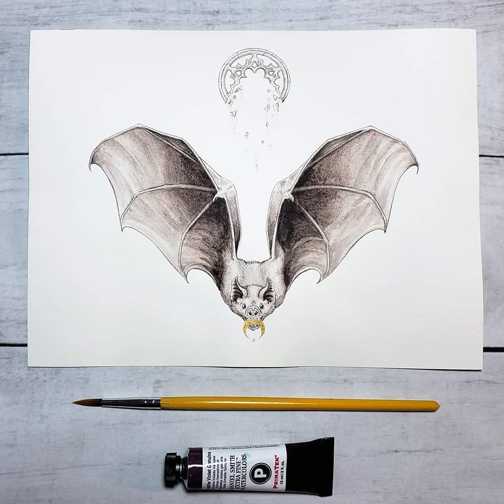 Small Things Sacred  I have this small bat painting available for bids in this month's @ChangelingArt Monochrome art auction!  #bat #batart #batpainting #vampirebat #gothicbat #gothicart #gothicillustration #moon #moonart #wildlifeart #witchaesthetic #witchyaesthetic #animalartpic.twitter.com/3PuowkfxS7
