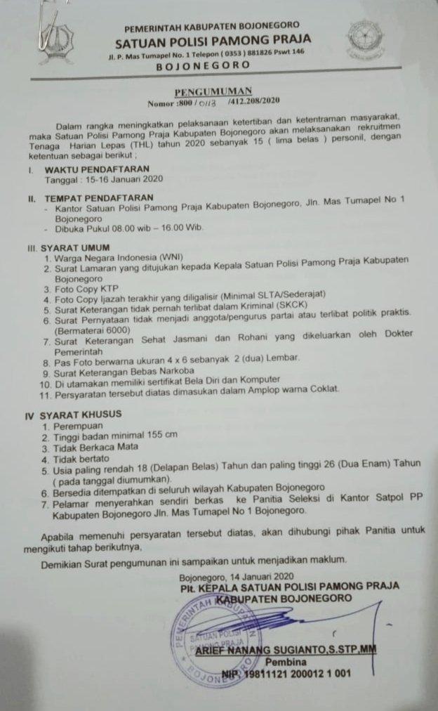 Satpol Pp Bojonegoro On Twitter Bila Berminat Silahkan Mengajukan Surat Lamaran Ke Kantor Satpol Pp Kabupaten Bojonegoro Terhitung Mulai Tanggal 15 Januari 2020 Sampai Dengan 16 Januari 2020 Adapun Persyaratan Pendaftaran Tercantum