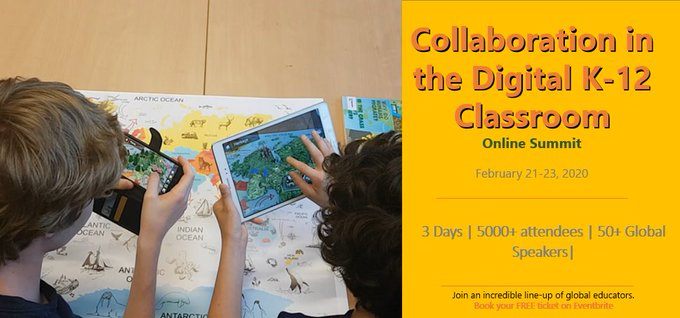 Get ready for Collaboration in the Digital K-12 Classroom #Summit 2020! 50+ video presentations   Learn from global Educators from your office/classroom/home   FREE online Summit  FREE CPD certs   Register now https://edtech4future.com   #CDCS20 #EdTech4Future