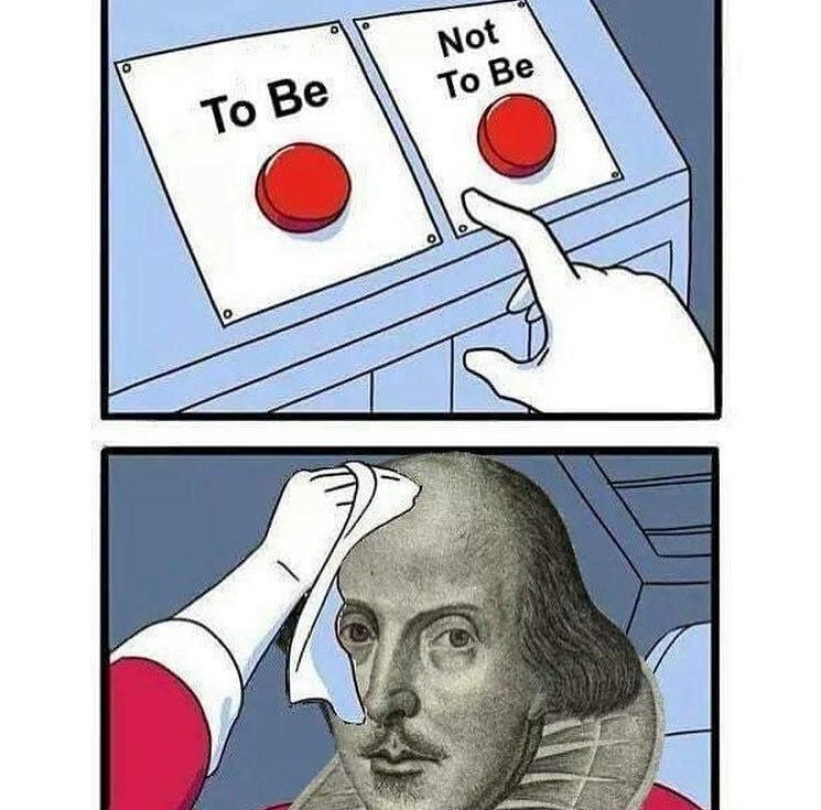 That is the question. | Вот в чём вопрос. ⠀ #intermova_Fun #intermova_Literature #DailyStruggle #JakeClark #williamshakespeare #УильямШекспир  #ВільямШекспір #Shakespeare #Шекспир #shakespearememes #literaturememes #theatre #tтеатр #drama #драма #bhfyp #Hamlet #Гамлет #funpic.twitter.com/jmTK5SoLQC