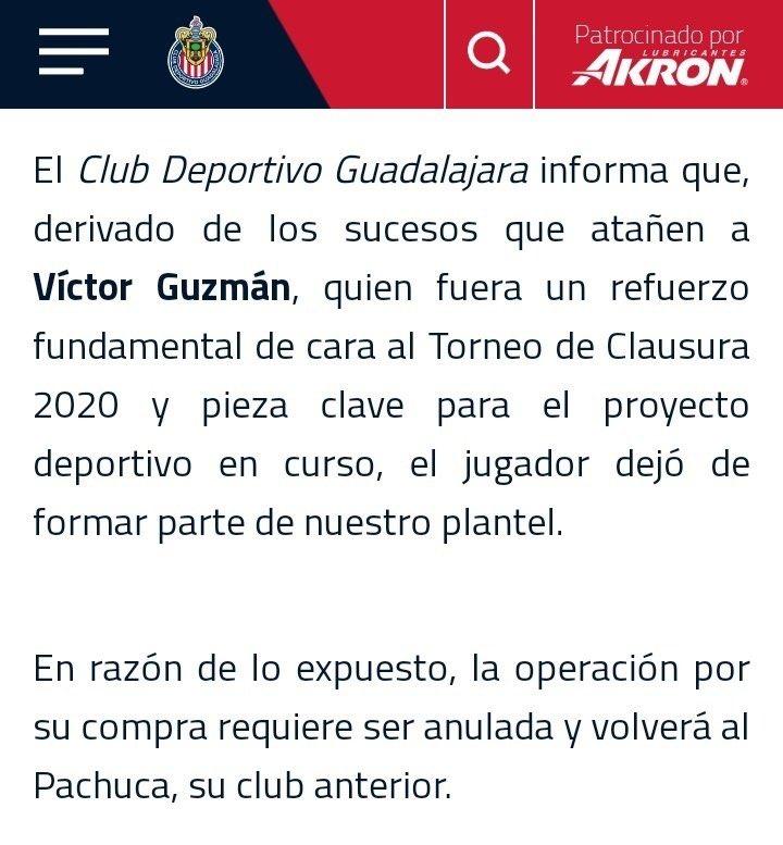 Chivas rompe su relación con Pocho Guzmán