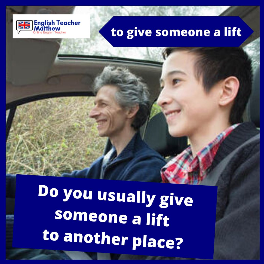 to give someone a lift⠀ -⠀⠀ My Dad gave me a lift to the airport  - we say 'give someone a lift to' another place when we want to say someone drives somebody somewhere.  -⠀⠀  #learn #learning #learnenglish #learnenglishwithme #englishteachermatthew #englishlanguagepic.twitter.com/5epM5TEmhM