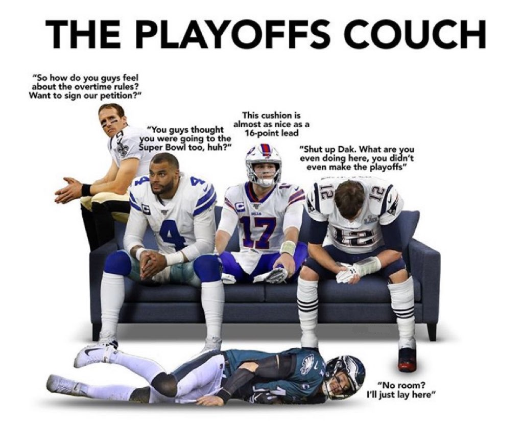 HAHAHAHA LOL #NFL #NFLPlayoffs #nflmemes #nflhumor #nflfootball #tombrady #joshallen #drewbrees #carsonwentz #funny #sportsmemes #Patriots #Eagles #Saints #Bills #Cowboyspic.twitter.com/6xYWKqdXbf