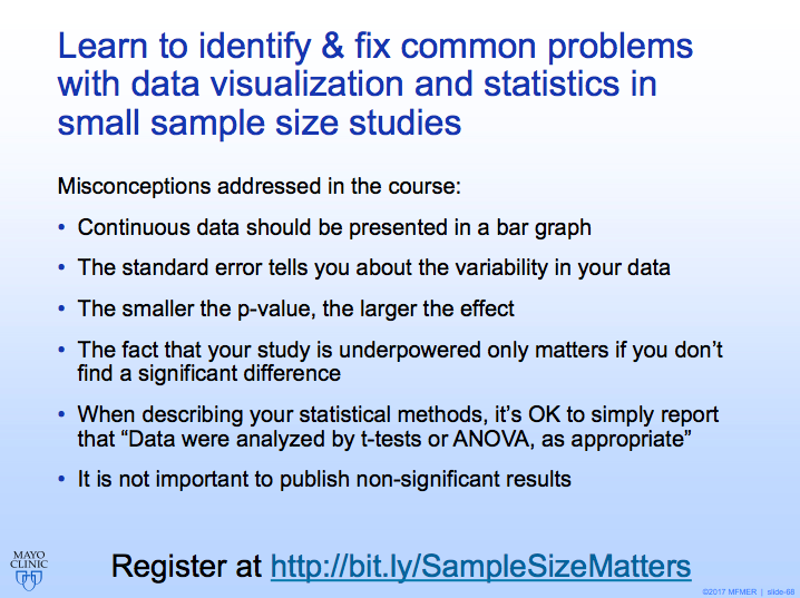 Want to improve your figures & stats in your next paper? Our new online course will teach you to identify and fix common problems with data visualization & statistical analysis in small sample size studies. Free for anyone who registers before Jan 15. bit.ly/SampleSizeMatt…