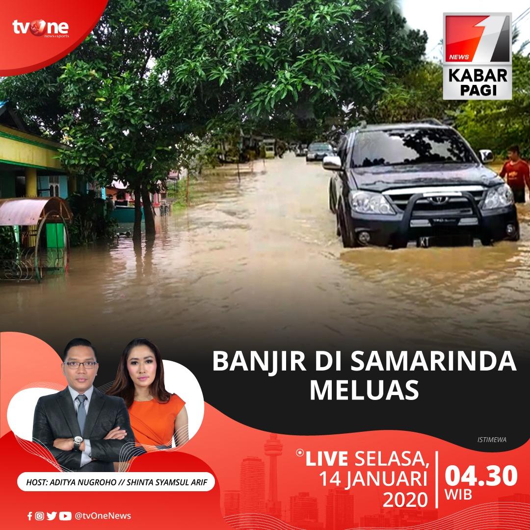 Kabar Pagi: Banjir di Samarinda meluas.Saksikan berita selengkapnya bersama Aditya dan Shinta jam 04.30 WIB hanya di tvOne & streaming di tvOne Connect, android http://bit.ly/2CMmL5z & ios http://apple.co/2Q00Mfc #KabarPagitvOne