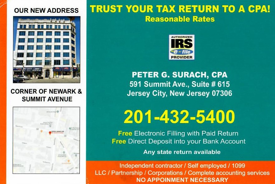 Tax season begins January 27, 2020! Get your taxes done by Peter G. Surach, whose office is located 591 Summit Ave, Suite # 615! Free electronic filing + free direct deposit. Call for details: 201-432-5400.#JerseyCity  #sponsoredpost #taxseason2020 #taxseason #taxes