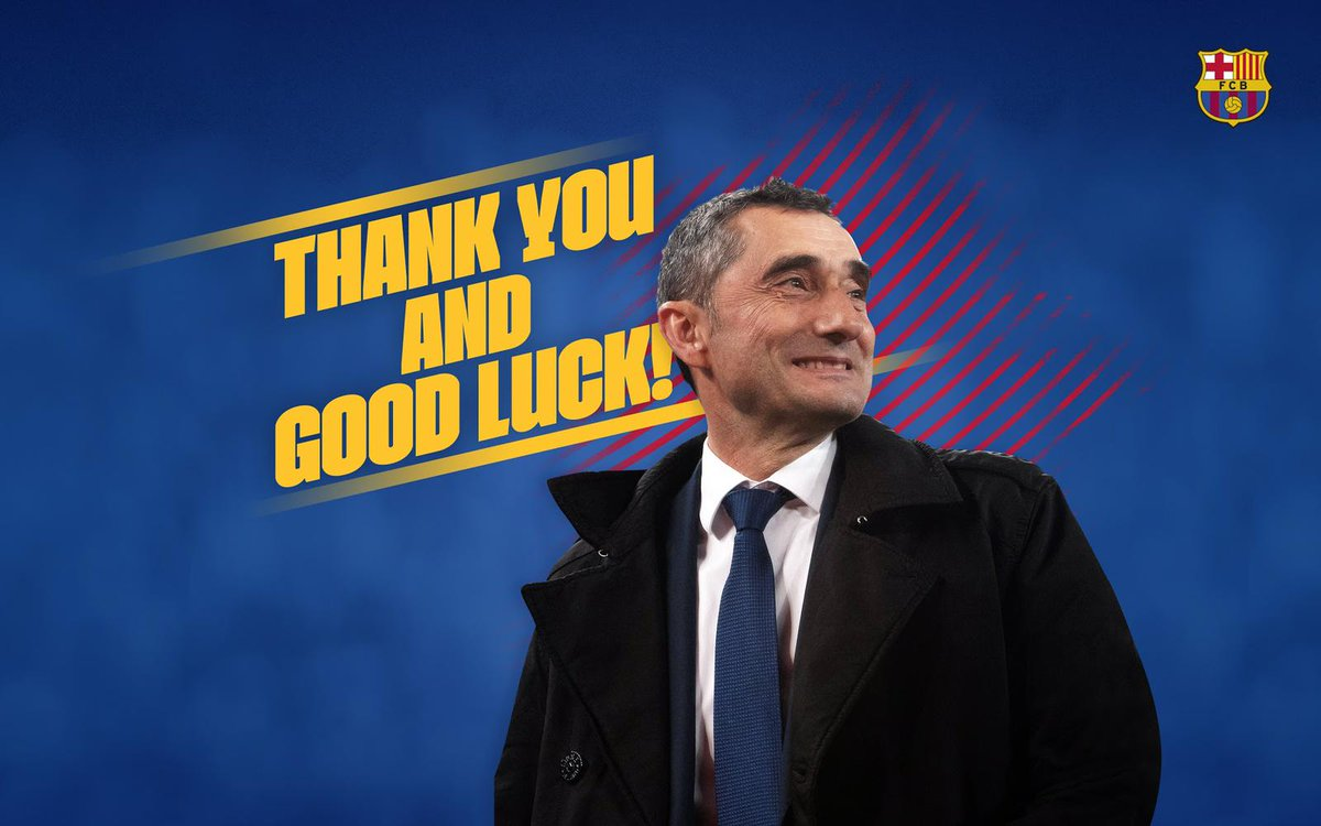 Agreement between FC Barcelona and Ernesto Valverde to end his contract as manager of the first team. Thank you for everything, Ernesto. Best of luck in the future. https://t.co/zrIgB1sW2e