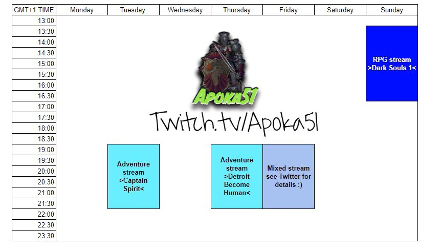 So let's try this again this week with the #schedule for the #stream - times did chance a bit   So let's try #captainspirit and #detroitbecomehuman for the #adventure part  Sunday finally #rpg with #darksouls1 - getting those 300 deaths done pic.twitter.com/rsrjU46dBE