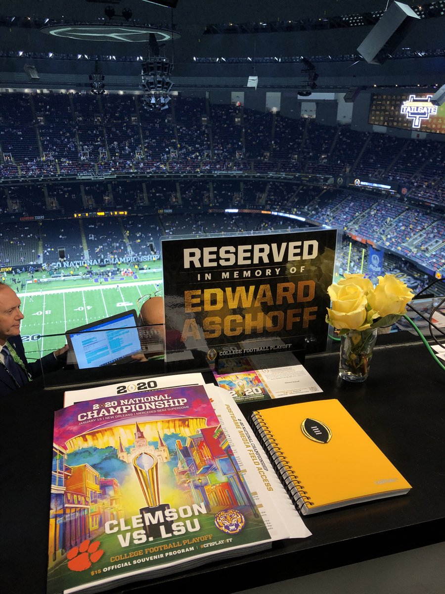 Well done, @CFBPlayoff. Remembering @AschoffESPN with a seat in the press box.