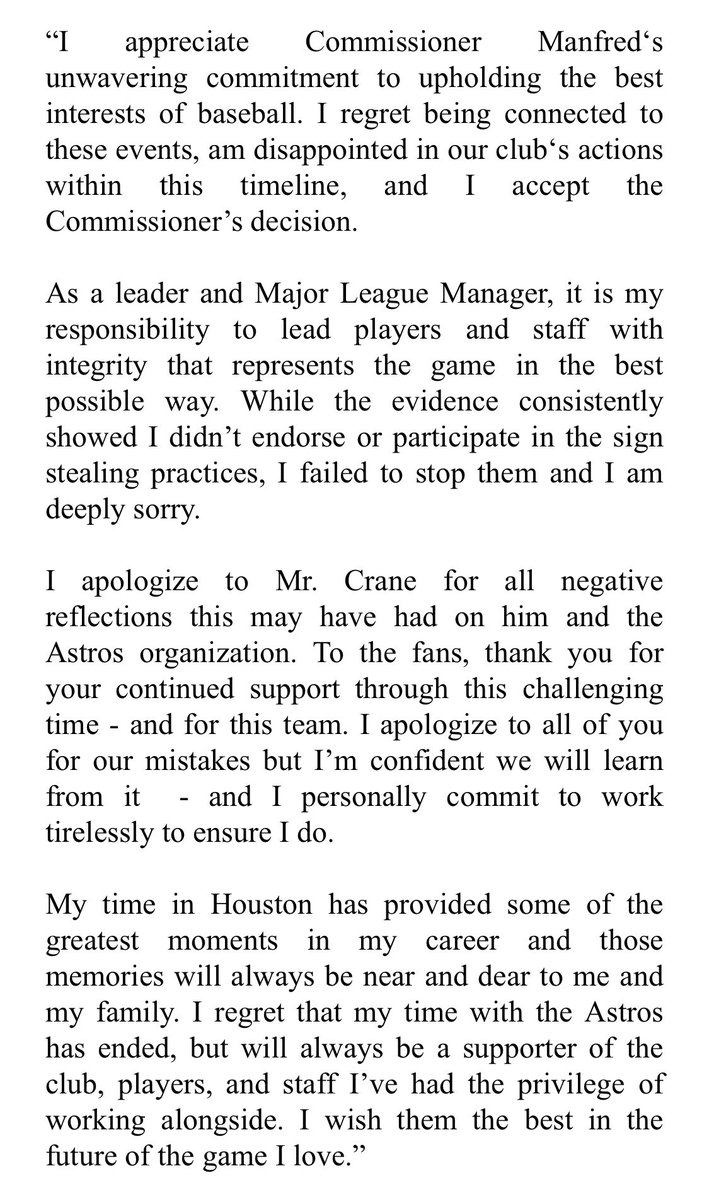 Astros release a statement from AJ Hinch.