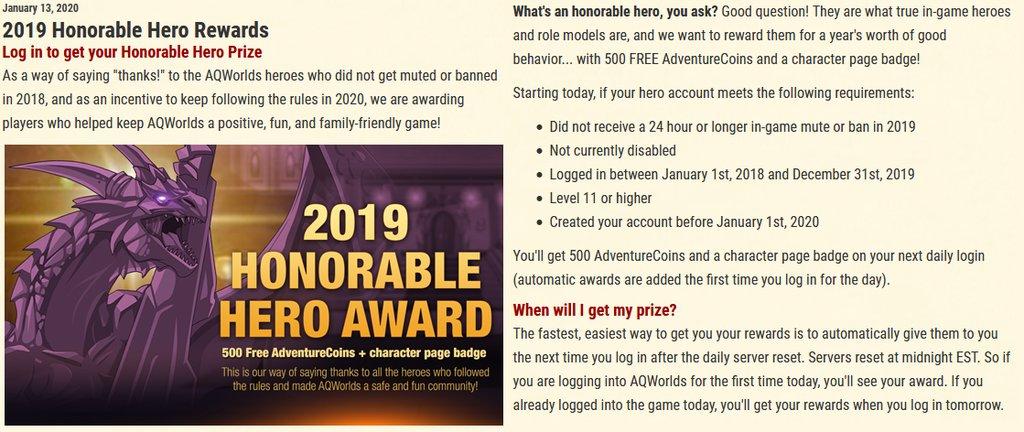 Aqw News Reddit On Twitter 2019 Honorable Hero Rewards