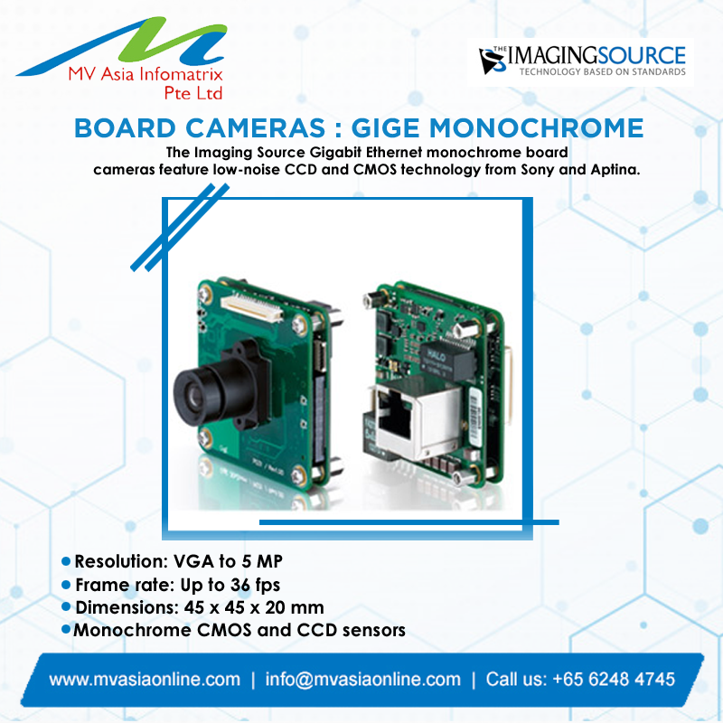 Imaging Source  is a leading designer and manufacturer of high-performance and high quality imaging products. BOARD CAMERAS: GIGE MONOCHROME  http://www.mvasiaonline.com  |  info@mvasiaonline.com  |  Call us: +65 6248 4745  #MVASIA #ImagingSource #GigeMonochrome #HighQualityCameraspic.twitter.com/ycEg5djEQF