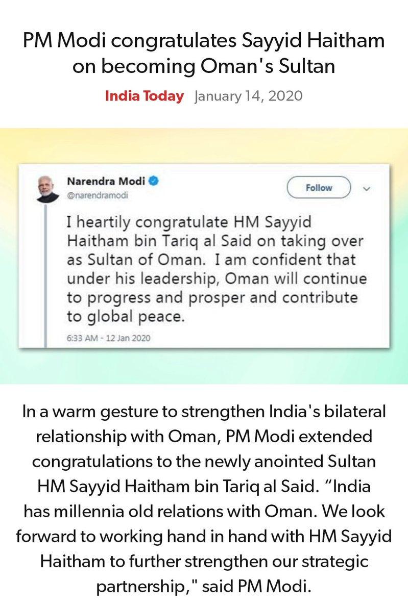 #MeraParivarBhajpaParivar #BarBarNamoNamoNamo #IndiaSupportCAA_NRC   PM Modi congratulates Sayyid Haitham on becoming Oman's Sultan https://www.indiatoday.in/world/story/pm-modi-congratulates-sayyid-haitham-becoming-oman-s-sultan-1636460-2020-01-13…  via NaMo Apppic.twitter.com/0hYjDMe1zj