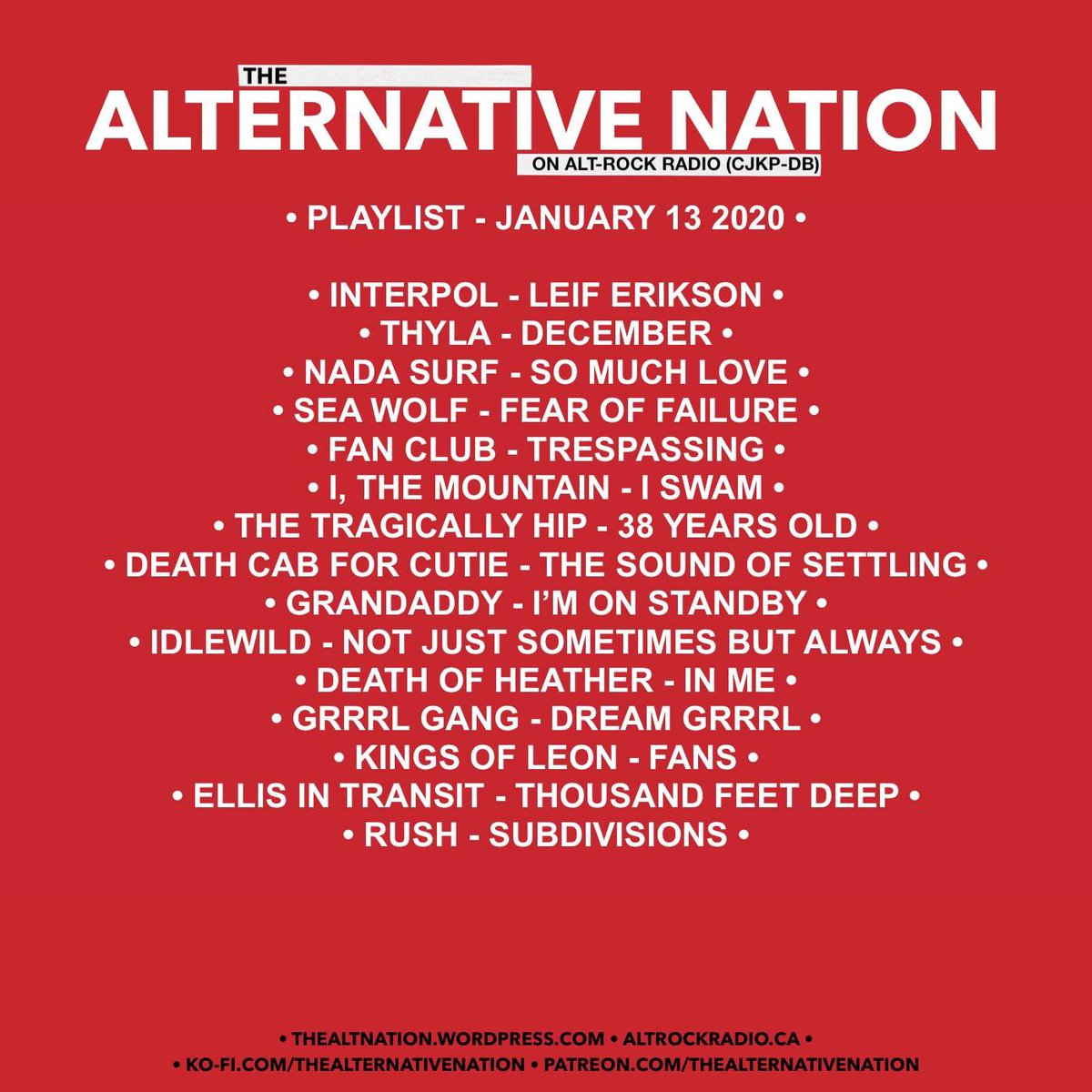 The Alternative Nation on @altrockradioca • Playlist - January 13 2020. Missed the show or want to listen back? The show is now available to stream on Mixcloud. #playlist #radio #radioshow #Canada #yourfmalternative #alternative #indie #indiemusic #mixcloudpic.twitter.com/tVUI4JG99y