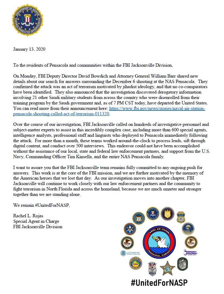 The FBI Jacksonville team remains fully committed to any ongoing push for answers, said FBI Jacksonville SAC Rachel Rojas in a letter to the Pensacola community.