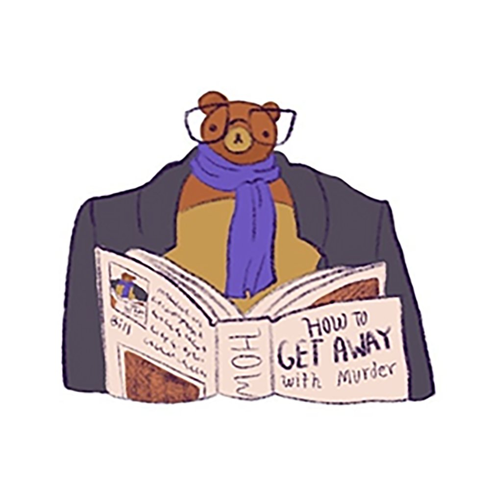 Probably the number one lesson, as to how to get away with murder, is not to be spotted reading a book titled How To Get Away With Murder. #thk #tinyheads #tinyheadedkingdom #tinyheadsbighearts #fanartmonday