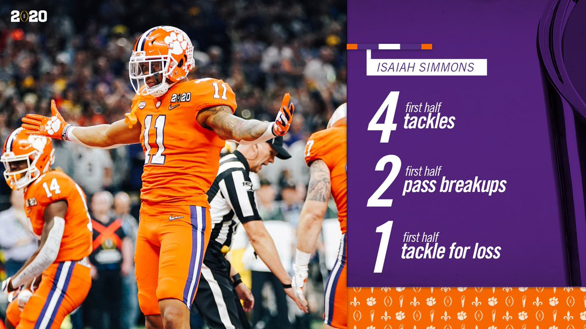 Isaiah Simmons proving why he's the most versatile player in the country. Big half from 1️⃣1️⃣. #ALLIN