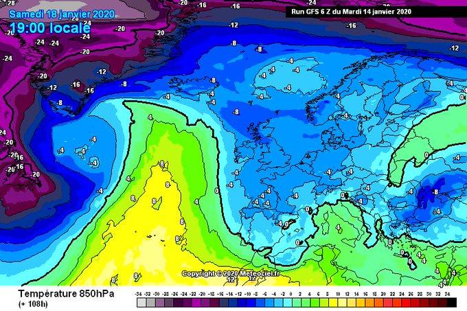 🤪 Salida muy interesante la del GFS para este sábado.   ✅ Perfil muy frío en todos los niveles y flujo de NW con precipitación.  ❌ Previsión a +108h, por lo q variará. Además, los diferentes modelos resuelven de manera distinta la situación de momento.  😍 Días de seguimiento.