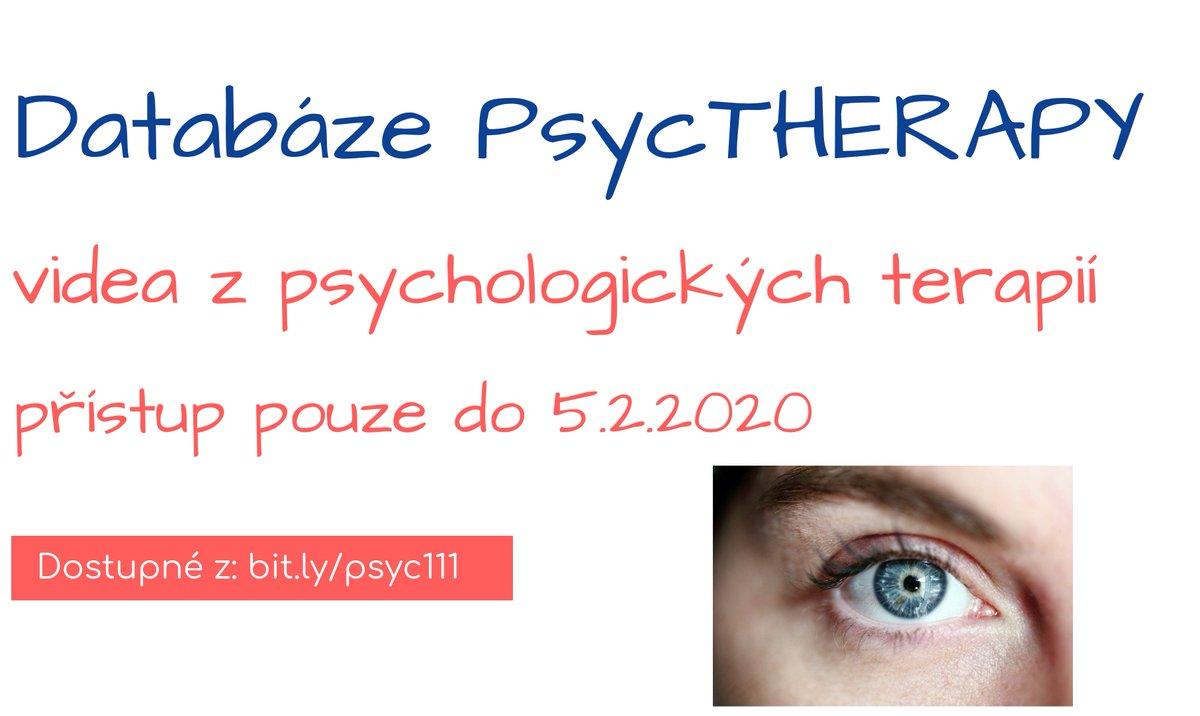 NOVĚ trial Databáze PsycTHERAPY pouze do 5.2.2020. :-) Databáze zpřístupňuje videa z psychologických terapií. Přímý & vzdálený přístup: https://t.co/HPsBOCcqyX #databáze #PsycTHERAPY https://t.co/T7P3czM33w
