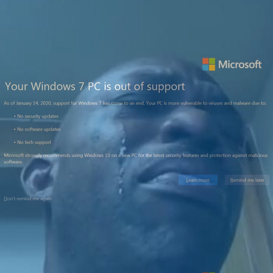 Today is the end of an era. All free support for Windows 7 has stopped as of today #Windows7 #UpgradeToday<br>http://pic.twitter.com/FScUCZrGkw