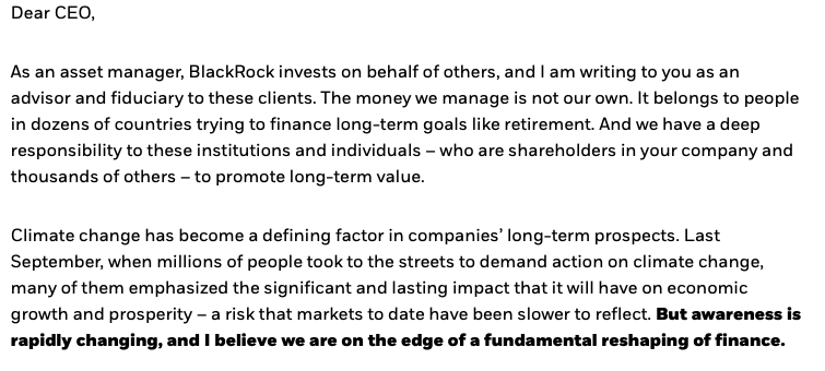 "So @Blackrock founder Larry Fink has finally recognised that the financial risks of climate change are profound: ""Climate change has become a defining factor in companies' long-term prospects... we are on the edge of a fundamental reshaping of finance.""   https://www. blackrock.com/corporate/inve stor-relations/larry-fink-ceo-letter   … <br>http://pic.twitter.com/W1A2CCUyTq"