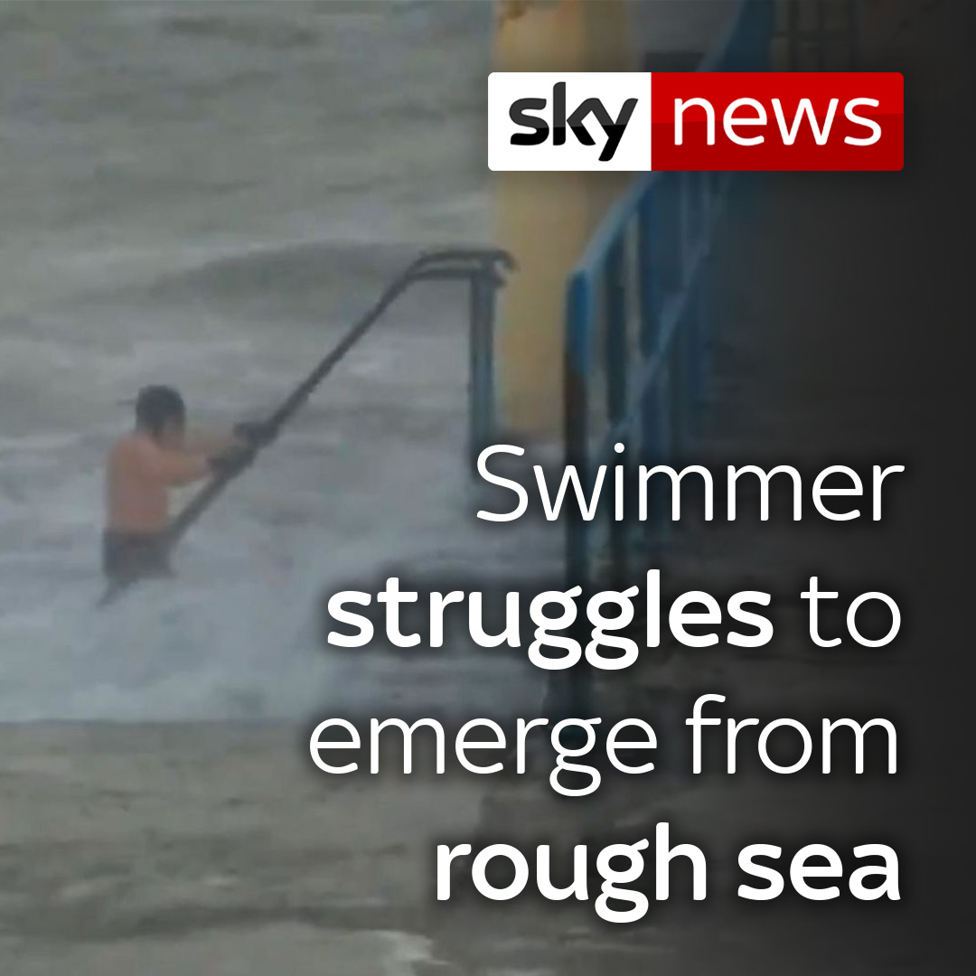 #StormBrendan: Swimmer struggles to emerge from rough sea.The man eventually got out and is understood to swim at the same spot everyday.Read more on what impact the wild weather is having on parts of the UK 👉http://po.st/VjMUGe