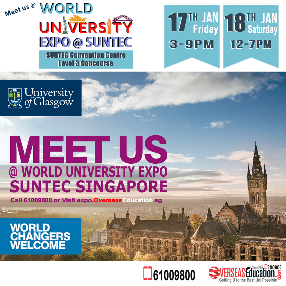 Study in a World Top 100 Uni - Uni of Glasgow for Biomedical Science, Finance, Psychology, Vet Sci, Nursing. Meet Uni Staff @WorldUniExpo on Fri 17 Jan 3-9pm & Sat 18 Jan 12-7pm at Suntec L3 Concourse. Call 61009800 or Visit http://glasgow.overseaseducation.sg or call 61009800 for more info!pic.twitter.com/pKZNr8zvzO