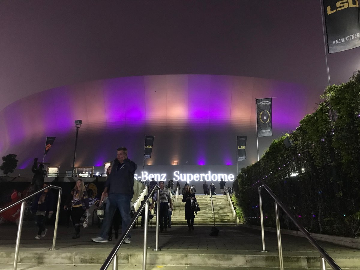 The Dome is Purple & Gold now that LSU Tigers won the National Championship!!! #GeauxTigers