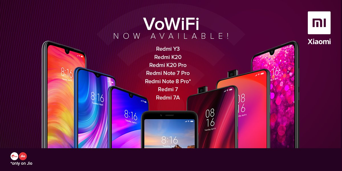 Excited to announce that #VoWiFi is now available across 7 @XiaomiIndia #Redmi smartphones! 👍  With VoWiFi you can easily make voice calls using @airtelindia & @reliancejio #WiFi network without additional voice calling charges.  I encourage all Mi Fans to use this!  #Xiaomi ❤️