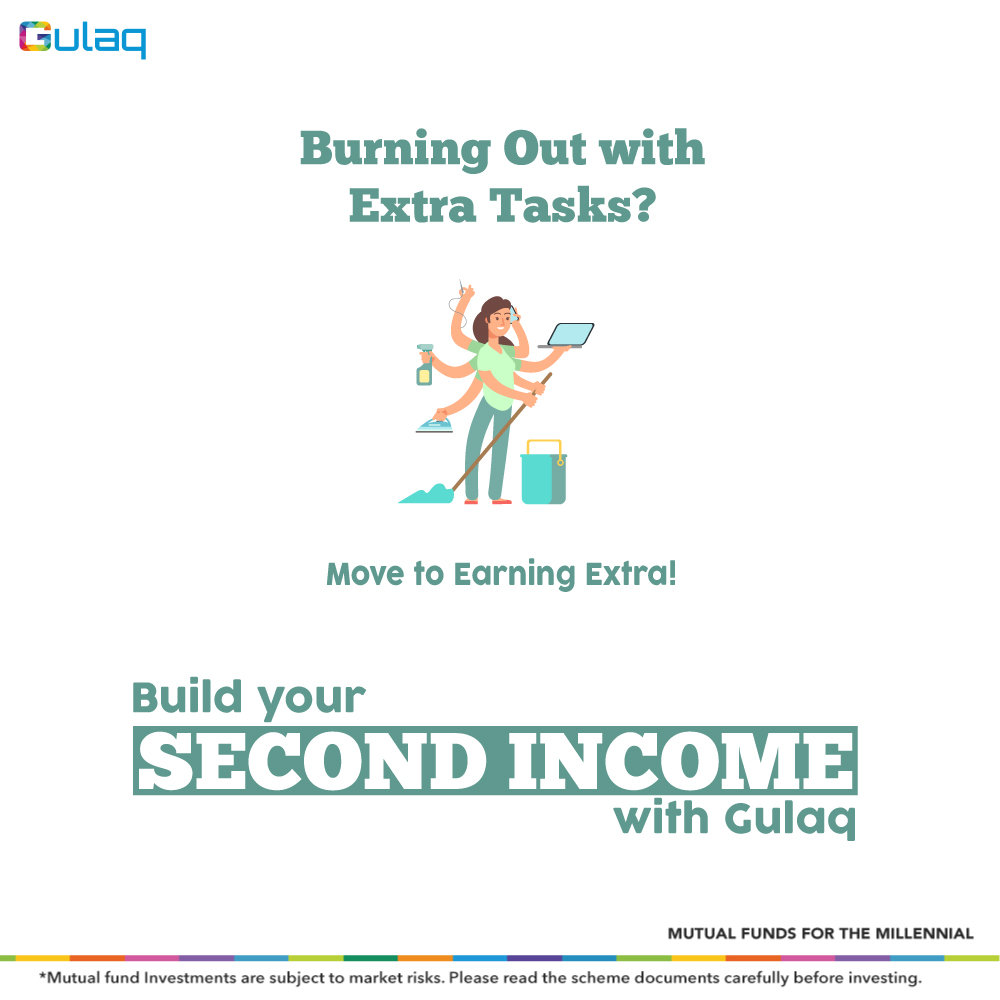 Working extra or Earning extra?  Start building your #SecondIncome.  Visit: http://bit.ly/Gulaq-Register    .  .  .  #Investment #financialplanning #InvestorAwareness #MutualFundsForMillennials #GulaqFintech #MutualFundsSahiHai #InvestingTips #OnlineInvestment #WhyGulaqpic.twitter.com/MRBaNB0CG1