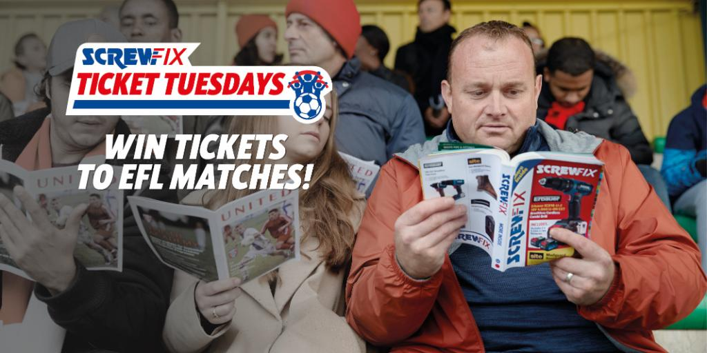 Its #ScrewfixTicketTuesday the chance for you to win tickets to your chosen @EFL game EVERY TUESDAY! To apply for tickets visit spr.ly/60131bCqX T&Cs apply spr.ly/60161bCqw