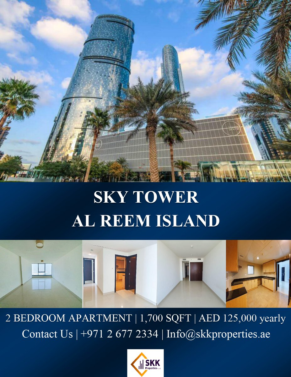 The Sky Tower is the most prestigious address in Abu Dhabi. The tower has 74-storey architectural masterpiece with unique elliptical design in luxury living. Call us today to get this amazing offer.  Contact: 026772334 Email: info@skkproperties.ae  #UAE #abiduabi #Properties https://t.co/CiAGYUQXSf