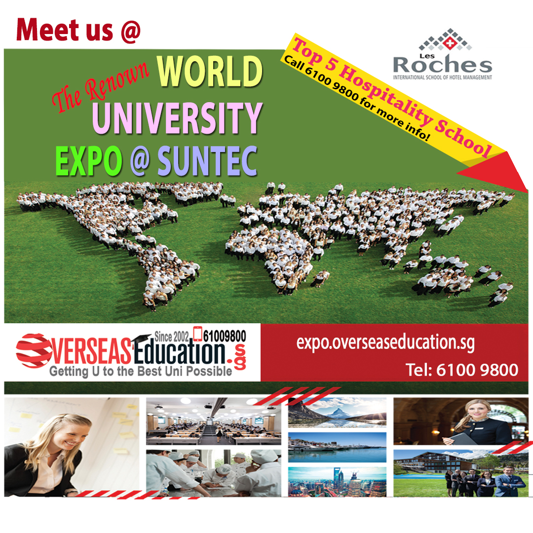 Be the Game-changer for the Hospitality Industry. Meet World Top 5 Hospitality Sch Les Roches at our WorldUniExpo on  Fri 17 Jan 3-9pm & Sat 18 Jan 12-7pm at Suntec L3 Concourse. Call 61009800 for  1 to 1 counselling before event or visit http://lesroches.overseaseducation.sg for more info!pic.twitter.com/Em8UUgjCv1