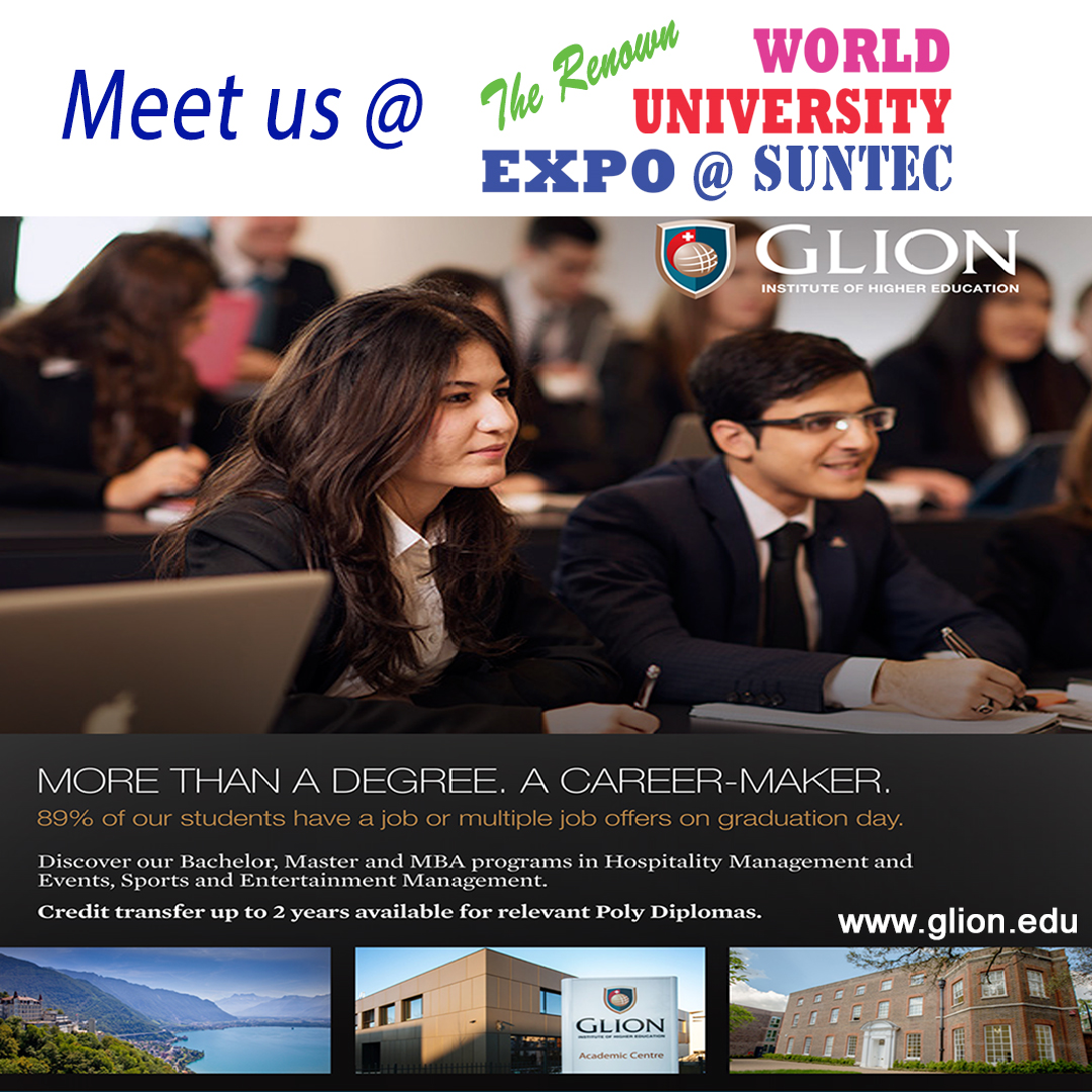 Wish to Study Hospitality Management in Switzerland? Attend our WorldUniExpo & meet Glion for info on Hospitality, Event Mgt, Luxury Mgt & more on  Fri 17 Jan 3-9pm & Sat 18 Jan 12-7pm at Suntec L3 http://Concourse.Call 61009800 or visit http://hotelmgt.overseaseducation.sg for more info.pic.twitter.com/FgZxf9HOMd