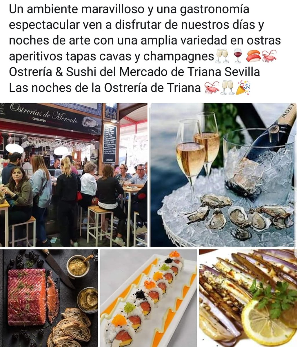 OSTRERIAS de mercado, ubicados dentro del mercado de abastos de Triana Sevilla.  #sevillarestaurant #sevillagram #sevillanas #sevillarestaurant #oysters #oyter #hosteleria #huitres #oysters #ostras #gillardeau #sushi #comerentriana #champagne #catering #boda #foodsevillapic.twitter.com/HoNZCpV6nT