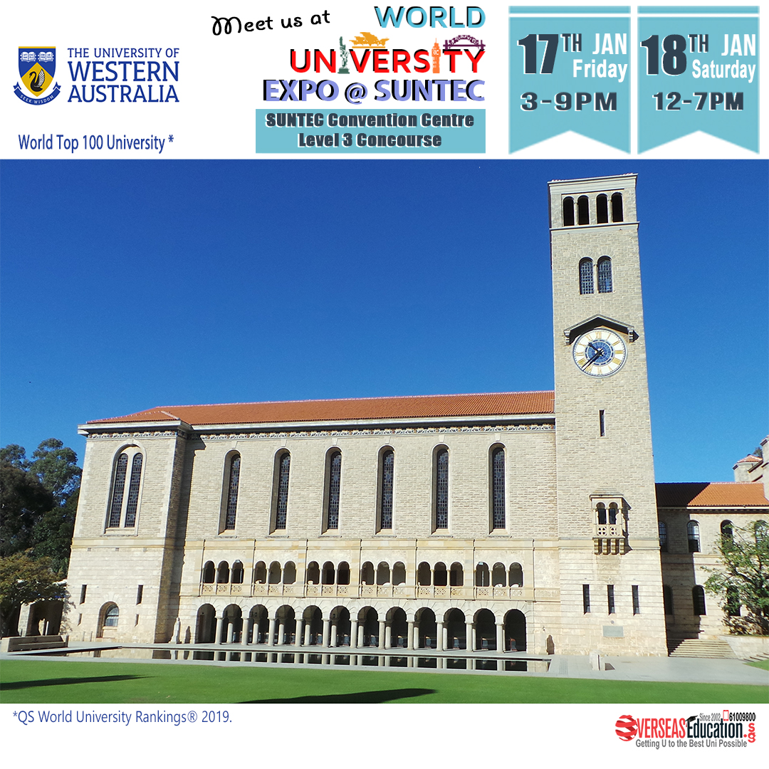 Uni of Western Australia is a World Top 100 & Group of 8 Uni in Perth. Meet UWA Staff at WorldUniExpo on Fri 17 Jan 3-9pm & Sat 18 Jan 12-7pm. Find out more about of 3 years double major Bachelor degree. Call 61009800 or visit http://uwa.OverseasEducation.sgpic.twitter.com/hDQZd5EtnJ