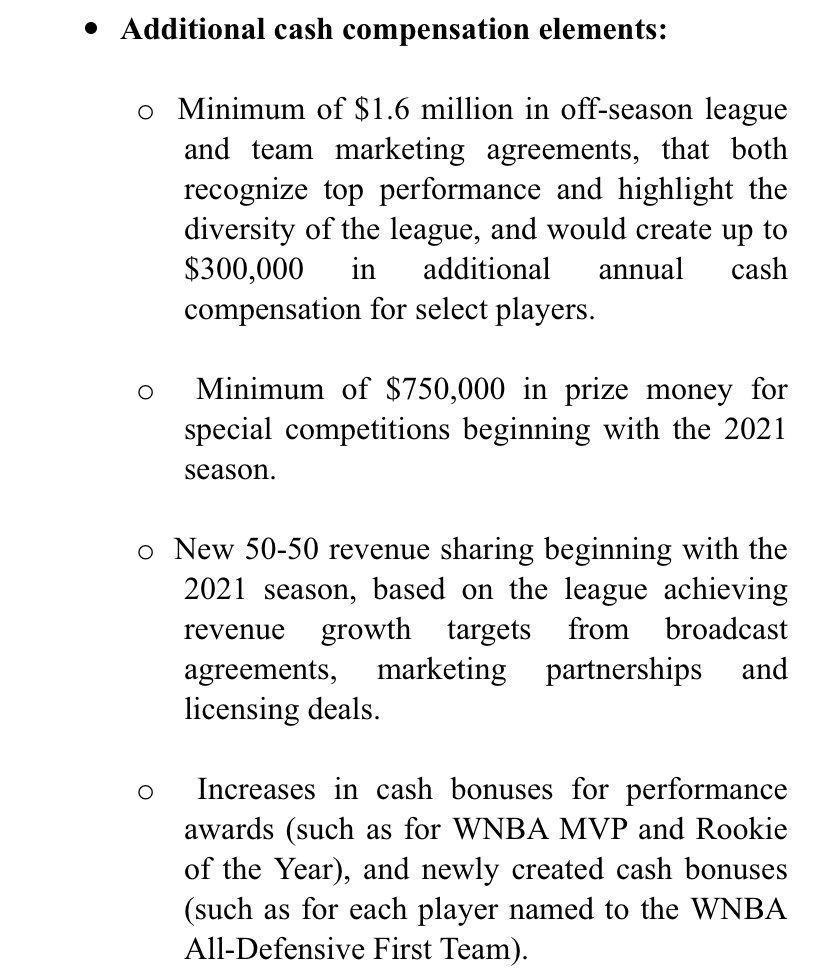 BREAKING: The WNBA and WNBA Players Association have reached a tentative 8-year collective bargaining agreement. Key elements in the pictures below. For the first time, average cash compensation of WNBA players will exceed six figures. <br>http://pic.twitter.com/0OuUj5YT8x