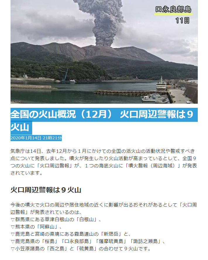 test ツイッターメディア - 全国の火山概況(12月)NHK:2020.1/14- 21:21気象庁は14日、去年12月~1月にかけての全国の活火山の活動状況や警戒すべき点について発表。噴火が発生したり火山活動が高まっているとして、全国9つの火山に「火口周辺警報」が、1つの海底火山に「噴火警報(周辺海域)」発表。https://t.co/hwBD1ane8a https://t.co/L4OpGgh0xH