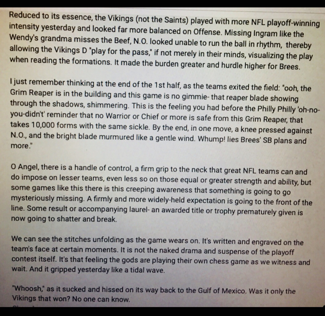 In this attachment are my poetic thoughts about the Vikings v Saints game in the NFL Wildcard Round. I describe the same feeling that was brewing in favor of the Titans over the Ravens.  I hope you like it!  - Secret t   #NFL https://t.co/4fzZfDmsfZ