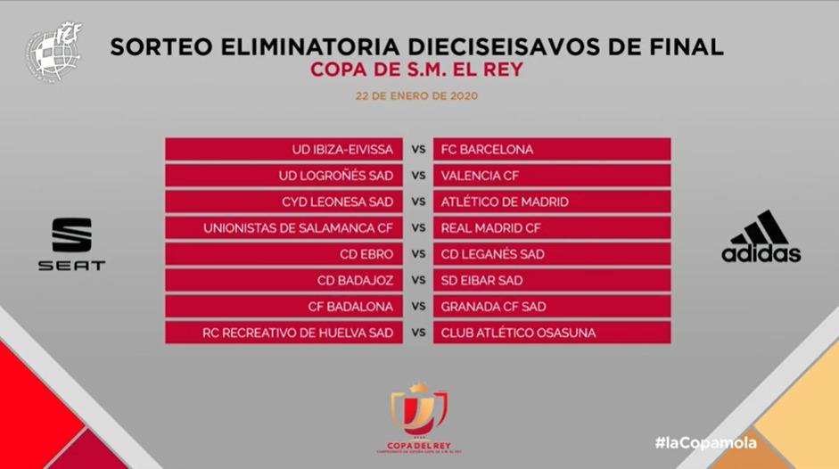 Segundos emparejamientos de la Copa del Rey.