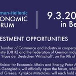Image for the Tweet beginning: 🔔Save the Date German-Hellenic Economic