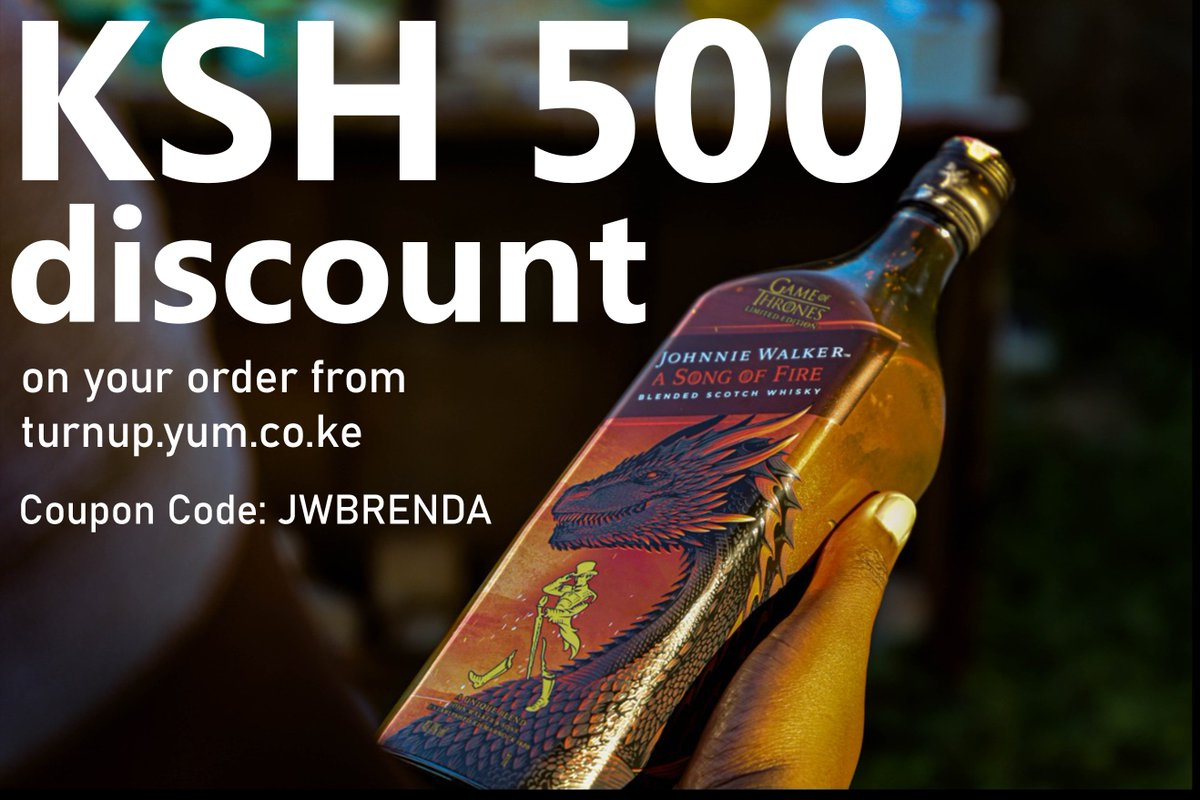 I'm offering you ksh. 500 OFF YOUR ORDER.  Enjoy the discount by visiting  http:// bit.ly/2sctKlx     , shop for either #JWsongofICE or #JWsongofFIRE and use code JWBRENDA to get your discount. #AD #JohnnieWalker<br>http://pic.twitter.com/ql9PZdg4HJ
