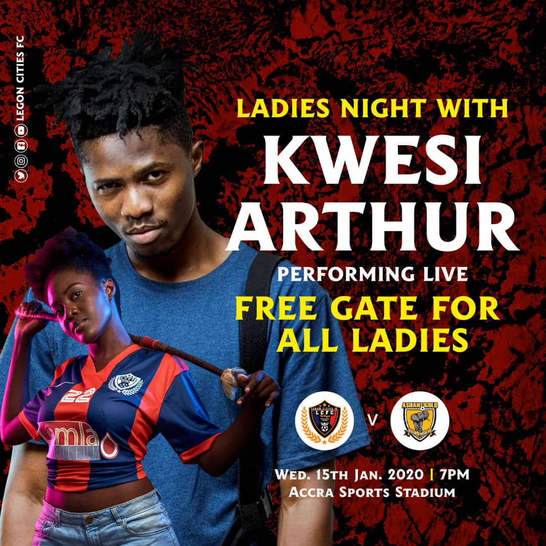 I'M NEVER GOING TO MISS THIS! 💃⚽️💃  This Wednesday Night   @LegonCitiesFC vs @AshantiGoldSC_   Accra Sports Stadium with @KwesiArthurOff1 performing live!  #GhanaPremierLeague #BringBackTheLove