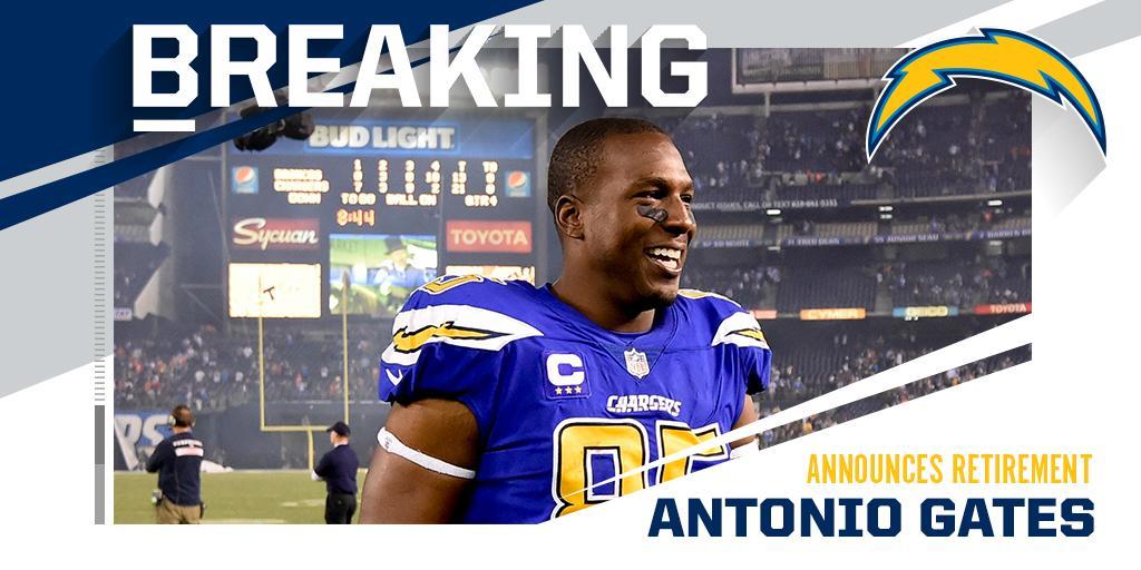 8x Pro Bowl TE and Chargers legend Antonio Gates announces retirement.