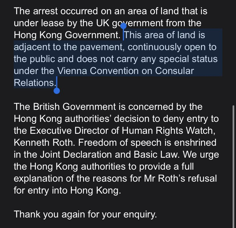 In the emailed reply, the Foreign Office added that the area where the arrest was made loaned to the UK Consulate General. Therefore, it carries no special status and hence police were free to maintain law and order according to the Hong Kong law. #HongKongProtests #antiELAB <br>http://pic.twitter.com/jbqfD3YiQ7