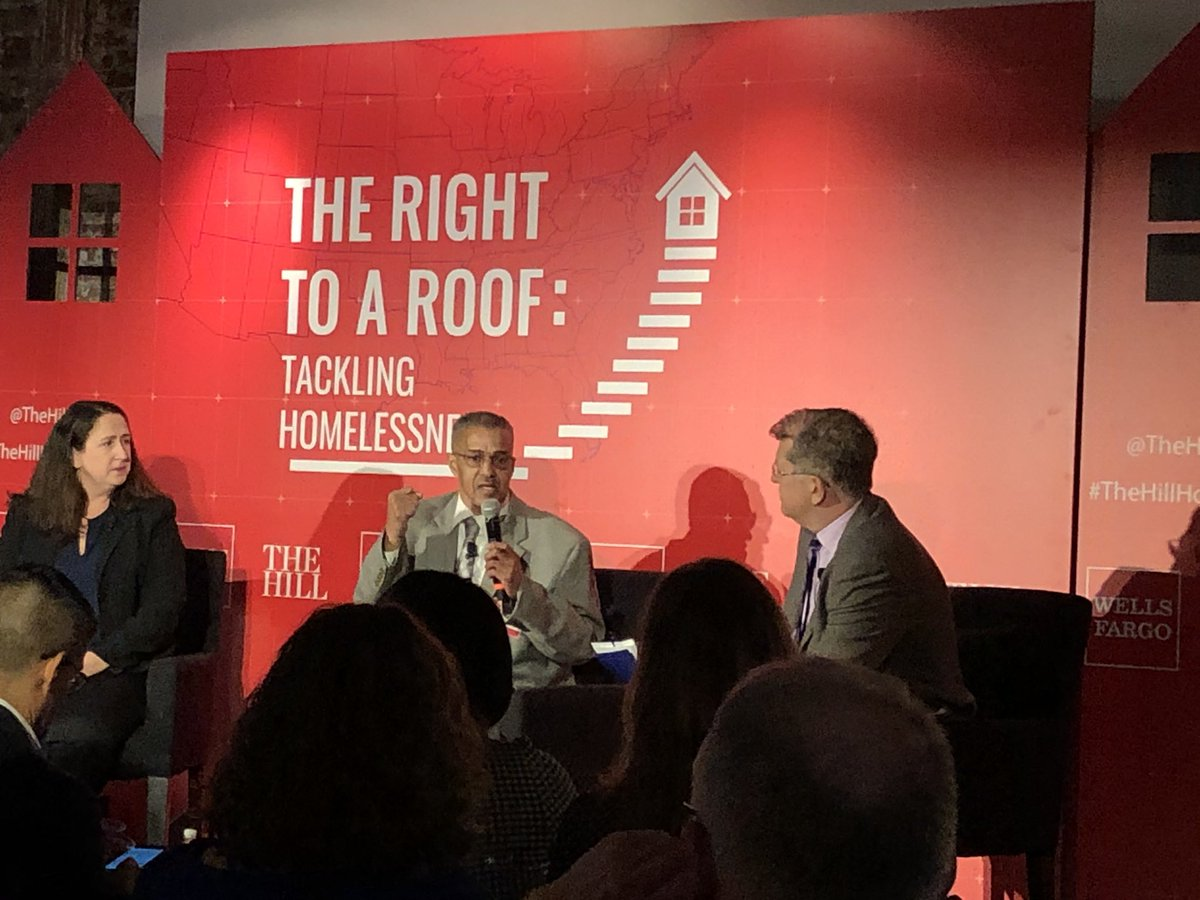Veteran and formerly homeless Mark Thompson praises Pathways to Housing for helping him. How to improve the org? More space and more funding! #TheHillHomelessness <br>http://pic.twitter.com/FQNlRfw4Wb