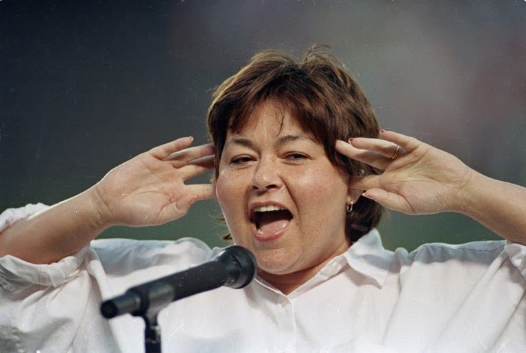 "Roseanne Barr #ShouldHaveBeenNominatedFor Worst ever ""singing"" of the National Anthem <br>http://pic.twitter.com/ZKYnnFiGMC"
