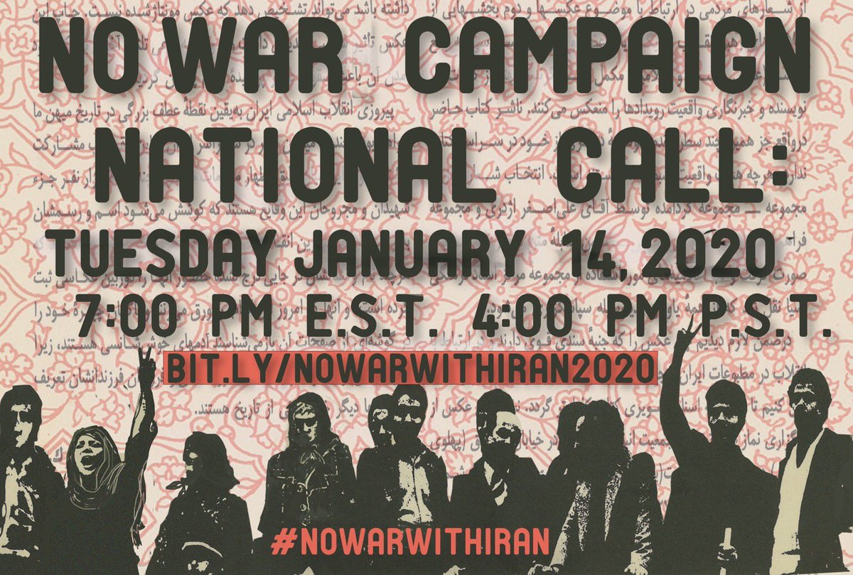 Join today's #NoWarWithIran call at 7 PM ET / 4 PM PT Register now ➡️ bit.ly/nowarwithiran2… #NoWarOnIran